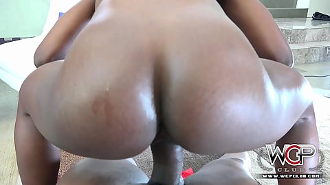 Nice ass oiled up ebony booty Ana Foxxx reverse cowgirl sex with big penis