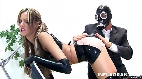 Pussy touching and groping with fetish bizzare latex love in office with Lara Love