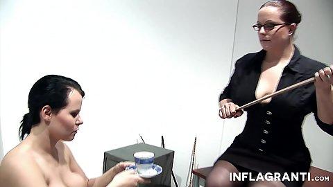 Intense office slave lesbian spanking with Sarah Leony and Lady Alexxa