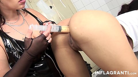 Latex gonzo doctor fetish with ass liquid injections