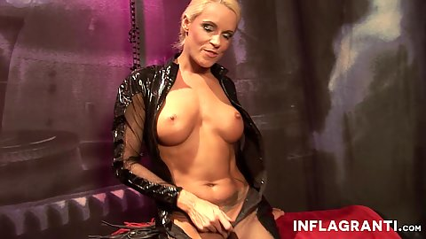 Big boobs solo latex blonde fucks a sex toy