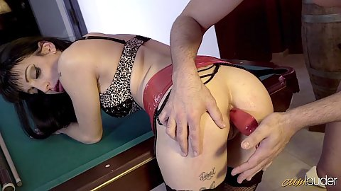 Pool hall dildo insertion with playful ass Cleo Gold