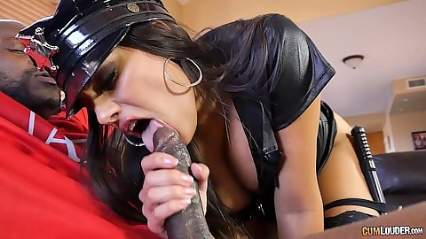 Sexy interracial big dick blowjob with police costume Mercedes Carrera