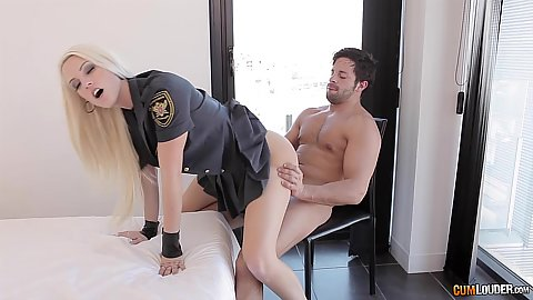 Nice butt police costume blonde Blanche Bradburry chair sex