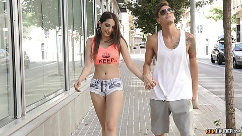 Walking around with Jimena Lago in public wearing tight shorts and she sucks quickly