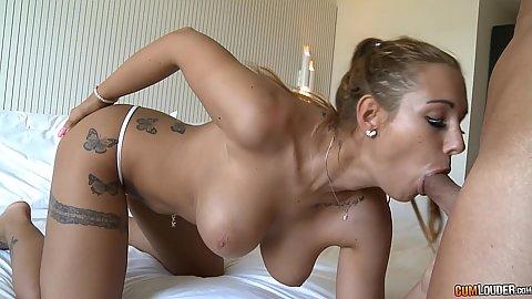 Big juggs Kyra Hot giving oral sex