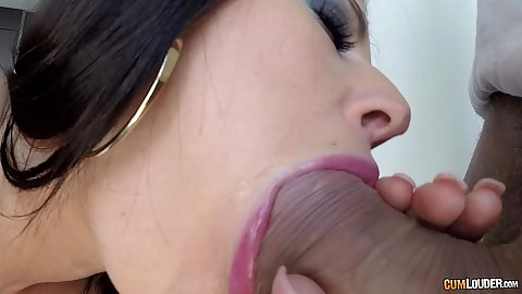 Oral sex close up with Athina shoving thick dick in mouth