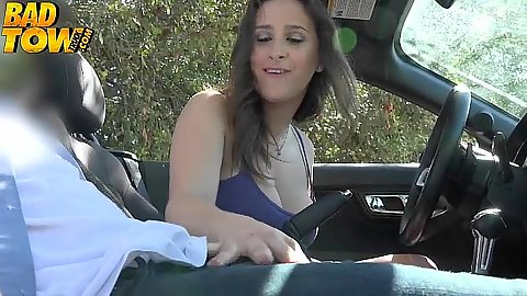 College slut needs helping from a tow truck driver