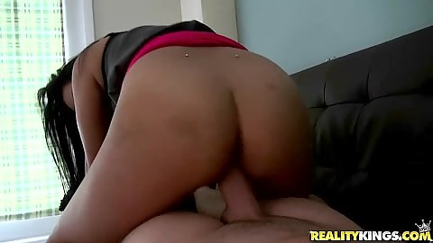 Reverse cowgirl couch sex with pov asian Sonia Lei