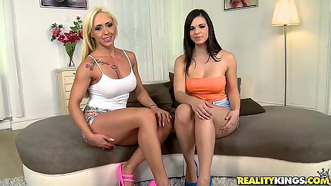 Captivating lesbian euro chics Christina Shine and Nekane