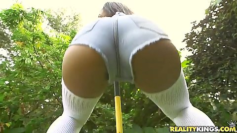 Shaking a hot pants ass outdoors with splendid Nicole Bexley