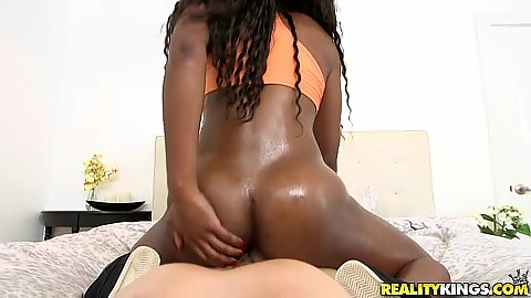 Oiled up sexy black butt Mya Mays pov sex on bed