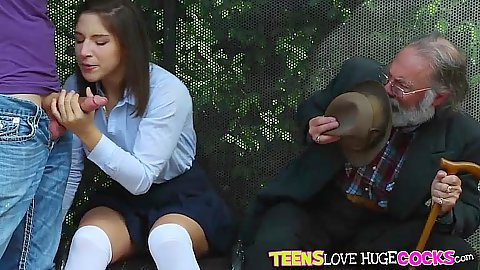 School girl teen Abella Danger sucking dick in bus stop with grandpa watching