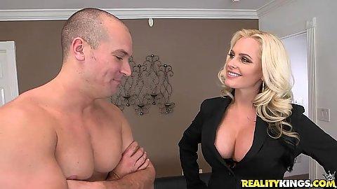 Blonde milf Alena Croft wearing sexy lingerie