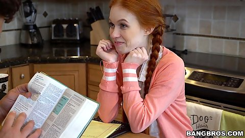 Sex deprived redhead teen Dolly Little doing some homework