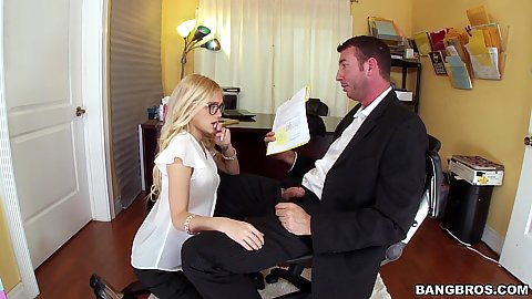 Blonde Alex Grey fully clothed and giving oral as a part of secretary job description