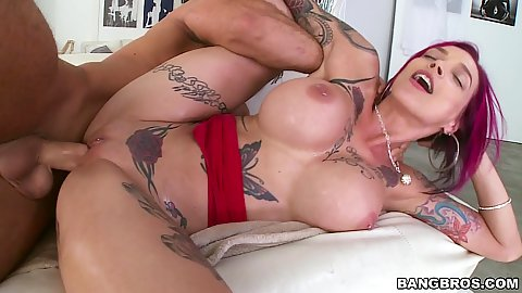 Inked huge boobs milf Anna Bell Peaks fucked so hard she squirts all over