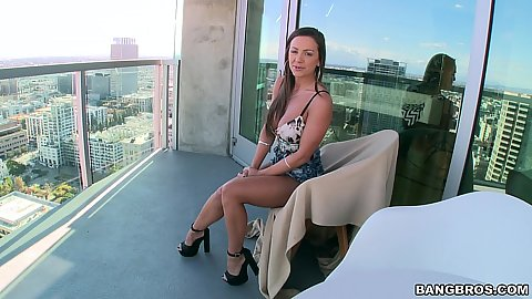 Slim body Abigail Mac looking sexy on our balcony