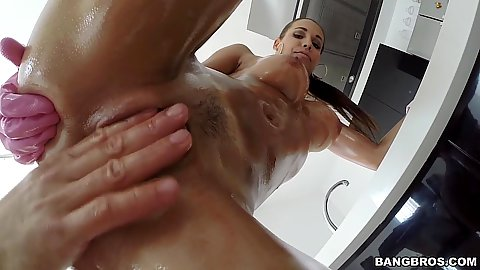 Fingering oiled up latina pussy and ass with Satin Bloom