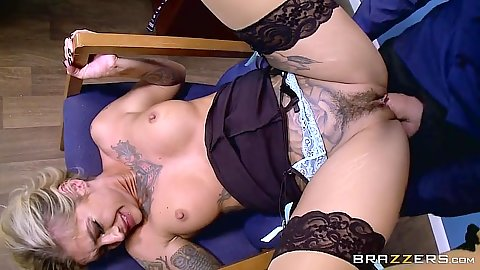 Pile driver penetration for hairy Kleio Valentien over office chair