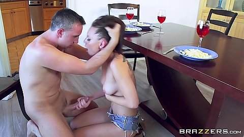Aidra Fox jerking dick and wants to get some cunnilingus on dinner table