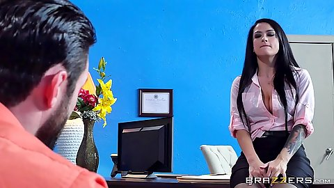 Office intern brunette Katrina Jade gets touched by man
