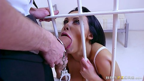 Security guard puts his cock through the prison bars for Aletta Ocean to suck him off