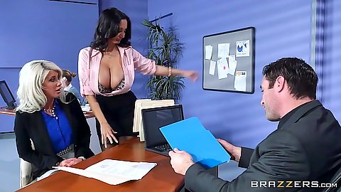 Office workers Ava Addams adn Riley Jenner two milfs with sex craving