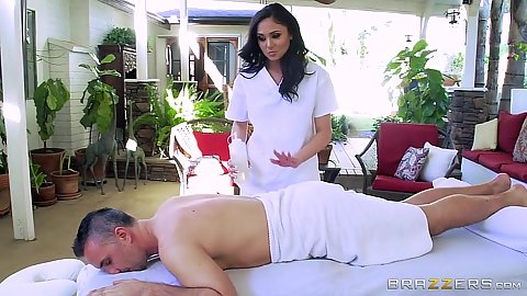 Eager latina masseuse Ariana Marie getting naked