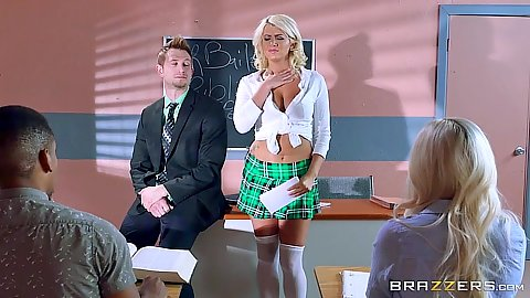 Mini skirt Layla Price is doing her oral exam
