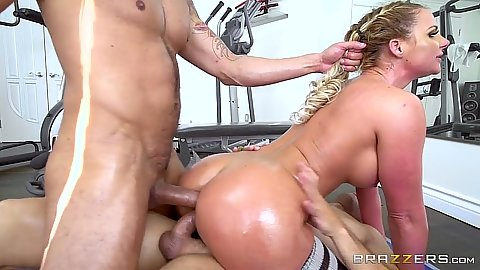 Double penetration for horny oil work out fuck Phoenix Marie