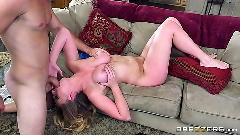 Reverse blowjob and titty fuck with all natural babe Brooke Wylde