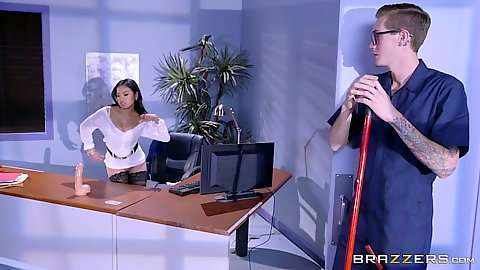 Janitor watches as asian office slut touches self Cindy Starfall