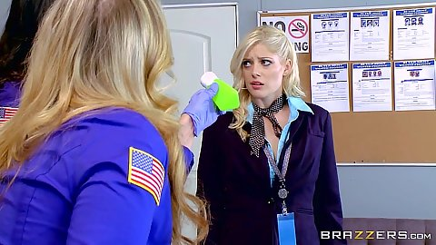 Airport security guard lesbian orifice exam with Charlotte Stokely and Julia Ann and Alison Tyler
