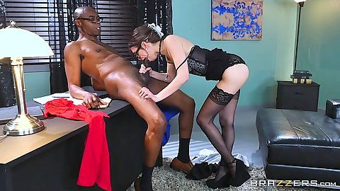 Interracial office sex acts with Riley Reid