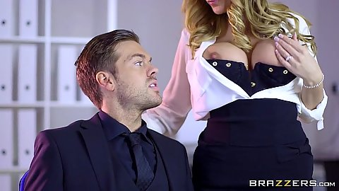 Pulled out tits blonde Stacey Saran seducing male at office