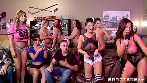 Halftime show group orgy with Romi Rain and Jada Stevens and Eva Notty