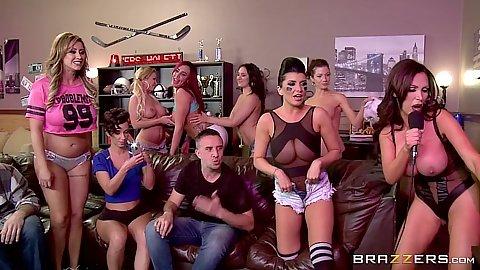 Halftime show group orgy with Romi Rain and Jada Stevens and Eva Notty