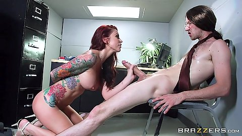 Office side view cock sucking and pussy penetration on desk with Monique Alexander