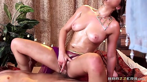 Oiled up big boob sex with Ashley Adams in tent