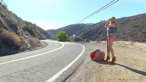 Slim body fresh Chloe Amour is hitchhiking outdoors