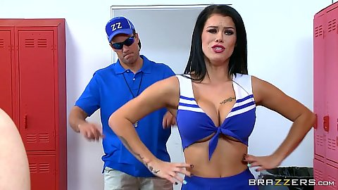 Luscious cheerleader Peta Jensen with large boobs wearing uniform and going to shower