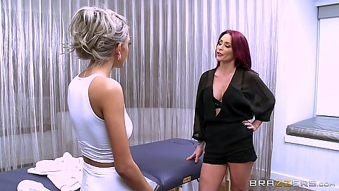 Lesbian Janice Griffith and Monique Alexander undressing for all girls massage