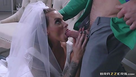 Delicious bride Juelz Ventura giving oral in her wedding dress