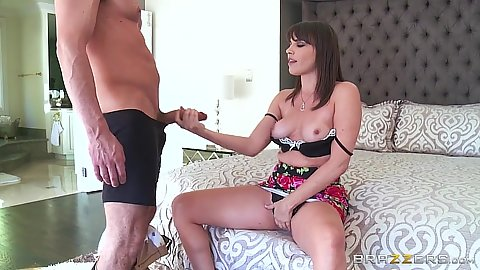 Medium boobies Dana DeArmond holding on to dick and putting it in mouth