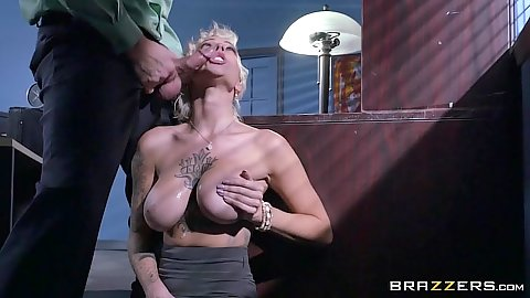 Office Harlow Harrison getting cock slapped over mouth