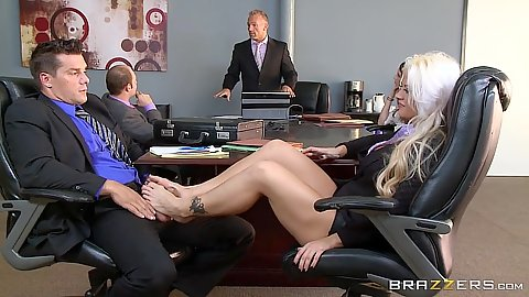 Footjob with Holly Heart right at the meeting