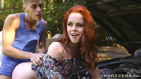 Anal standing fuck with beautiful redhead Ella Hughes