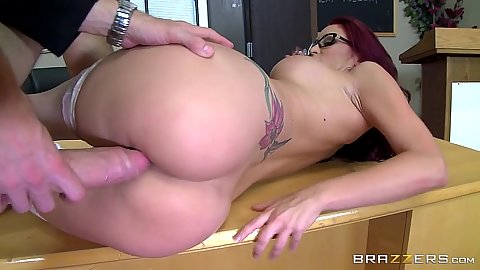 Desk fucking with inked redhead teacher Monique Alexander