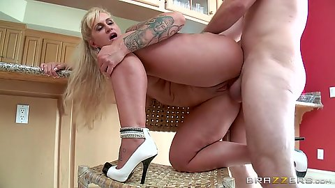 Kitchen chair blonde milf intercourse with Ryan Conner